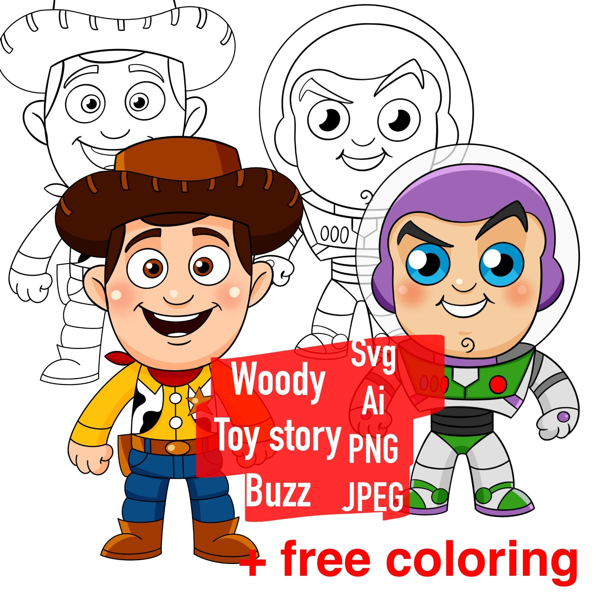 Woody Buzz Svg Clipart Cartoon Character Png Chibi Heroes Etsy In 2021 Woody And Buzz Toy Story Tattoo Woody Toy Story