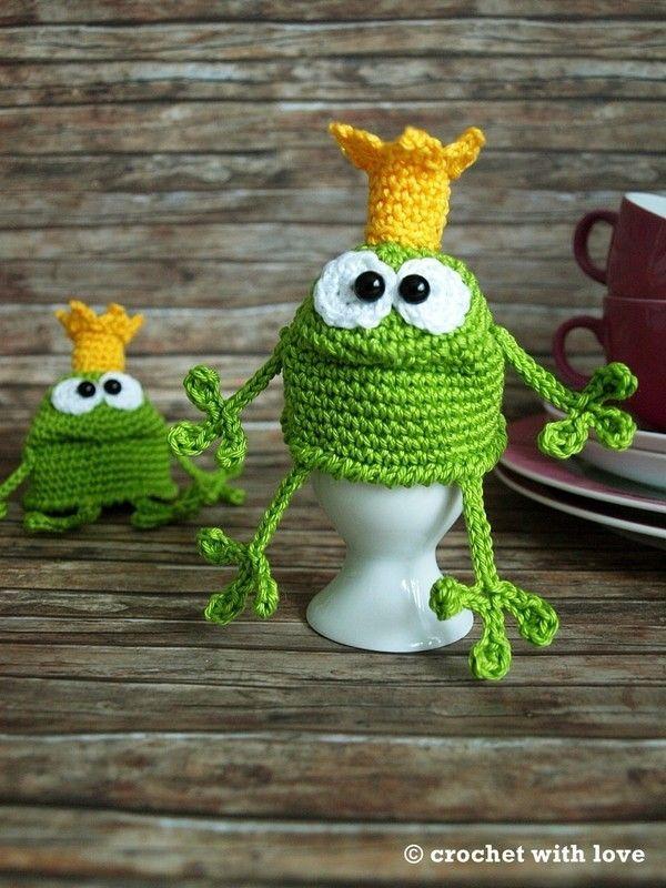 Eierwärmer Froschkönig, häkeln … | Pinteres…