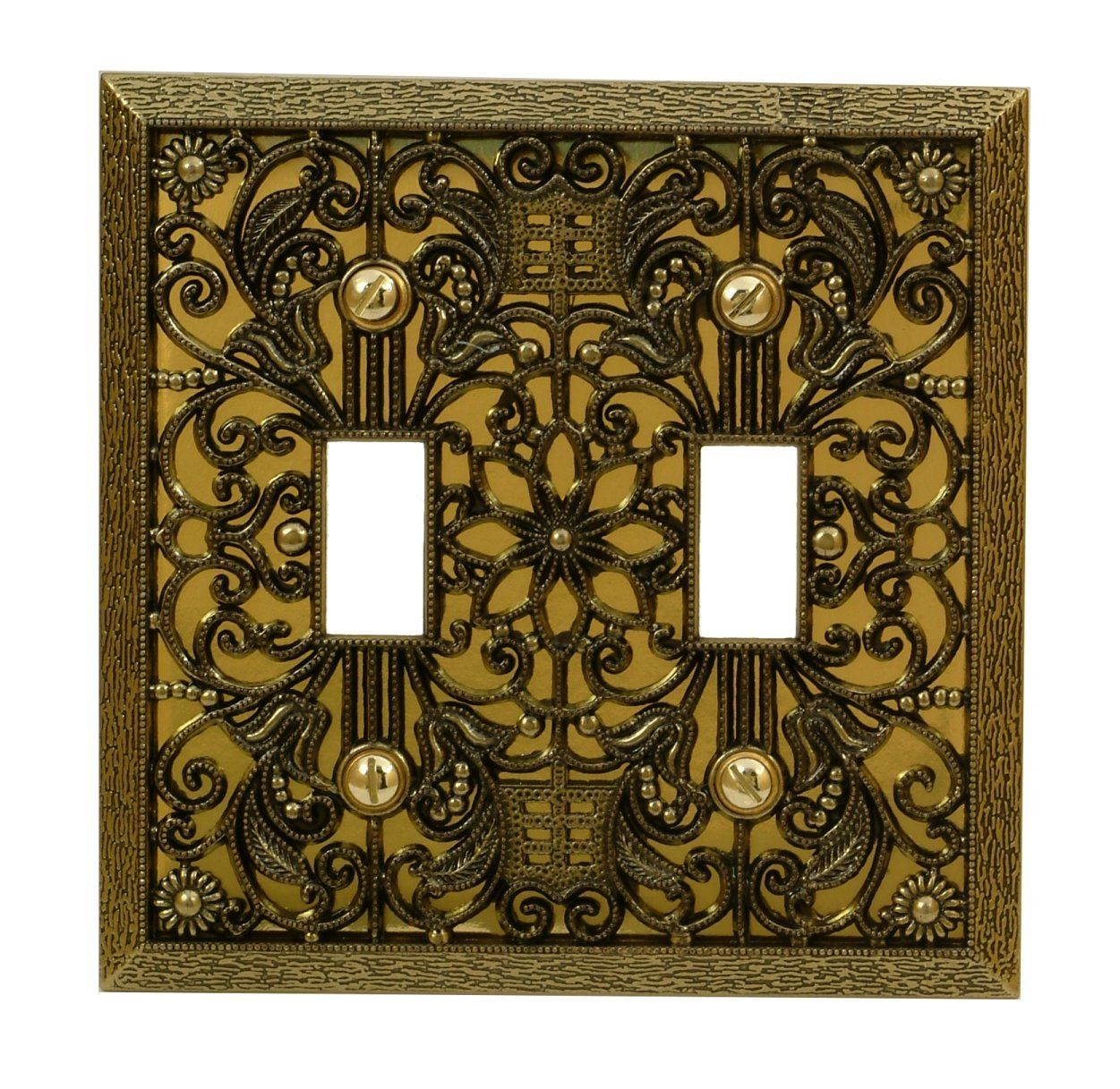 amertac amerelle filigree 2 toggle switch wallplate antique brass standard 2 toggle switch coverplate overall size w x h made from cast metal ornate