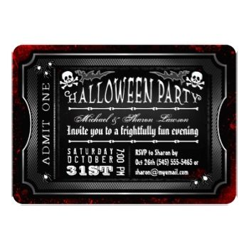 Halloween Black \ White Bloody Admit One Ticket Template - admit one ticket template