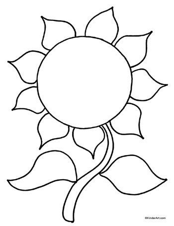 Sunflower Coloring Page. Printable Pages from KinderArt