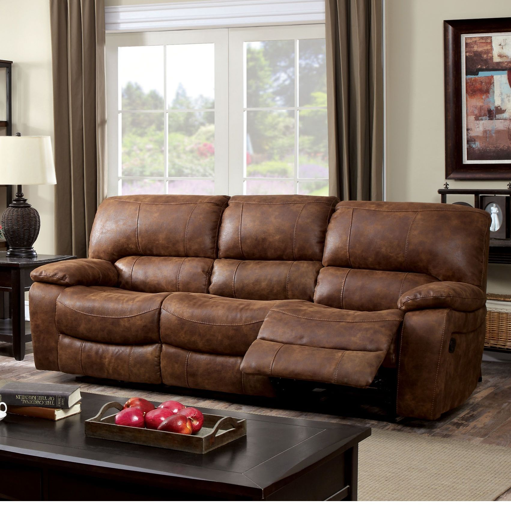 Furniture of America Cameltone Brown Bonded Leather Reclining Sofa