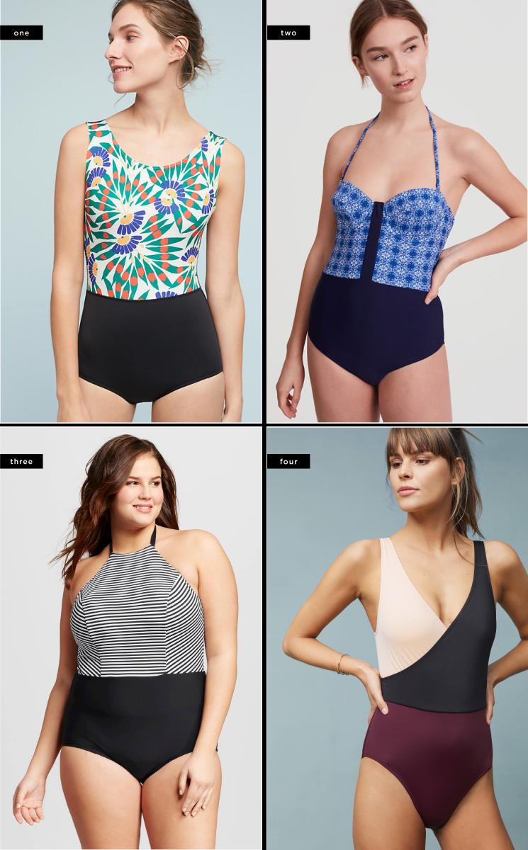 ea4b4f11d1e Color Block one-piece swimsuit // 1. Anthropologie, $125 / 2. Loft, $75 /  3. Target, $45 / 4. Anthropologie, $158