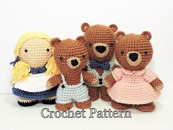 Crochet Pattern Doll : Crochet toy pattern goldilocks and three bears amigurumi crochet