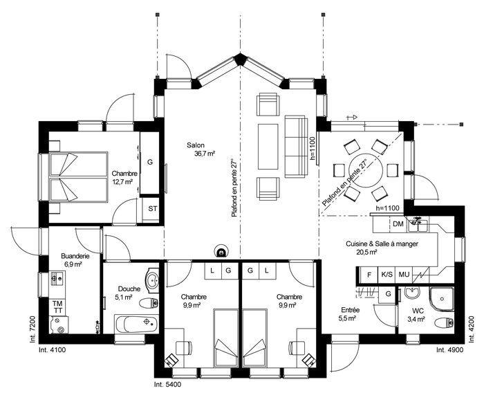 Plan rdc maison ossature bois su doise basse consommation for Plan de maison basse