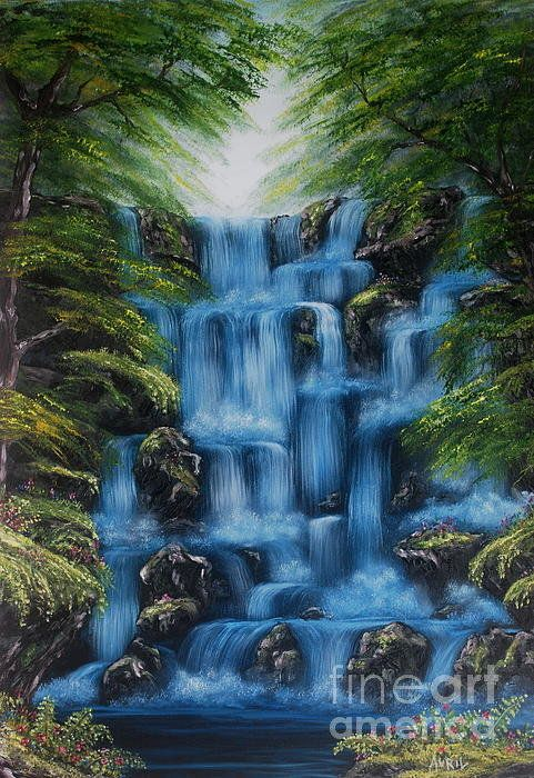 Waterfall Oil Painting Poster By Avril Brand Waterfall Paintings Waterfall Art Landscape Paintings