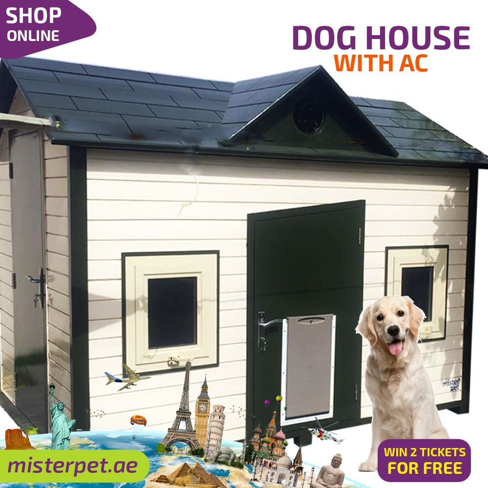 Saleon Dog House Villa With Ac Shop Online Https Bit Ly 2nq5mfr Or Call Us 0567662 Dog House With Ac Air Conditioned Dog House Dog House