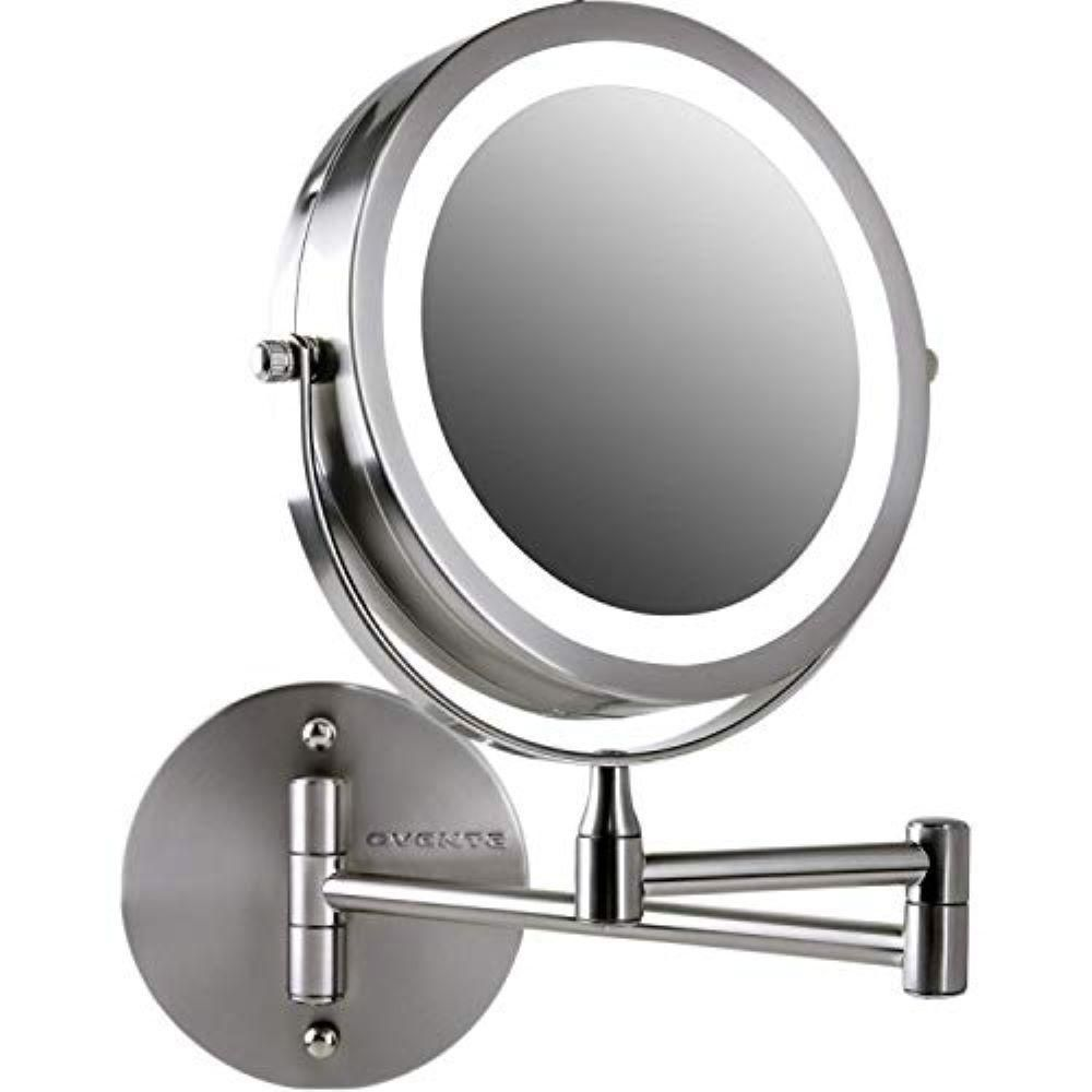 Ovente 7 In Nickel Brushed Wall Mount Led Lighted Makeup Mirror With Magnification 1x And 10x Battery Operated Mfw70br1x10x The Home Depot In 2020 Makeup Mirror With Lights Wall Mounted Makeup Mirror Wall Mounted Mirror