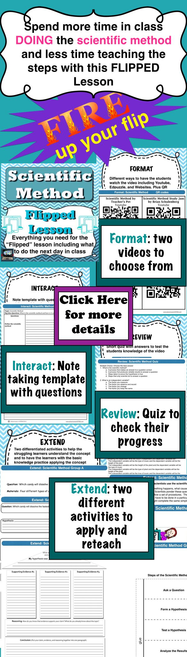 Have students learn the steps of the scientific method at their own pace and spend more time in class applying the steps with this flipped lesson.  Everything you need to flip the scientific method including a differentiated activity to do in class the day after the flip