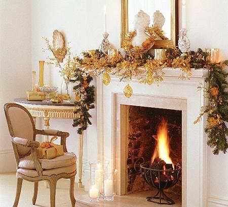 Decoración de Navidad para la chimenea Christmas and July Pinterest