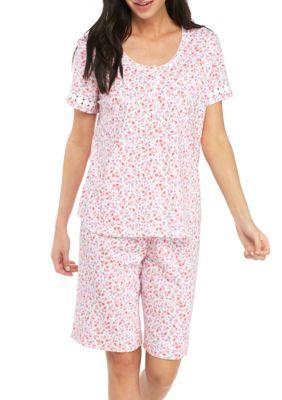a051f1ce84 Karen Neuburger Women s Short Sleeve Bermuda Pajama Set - Ditsy Coral - Xl