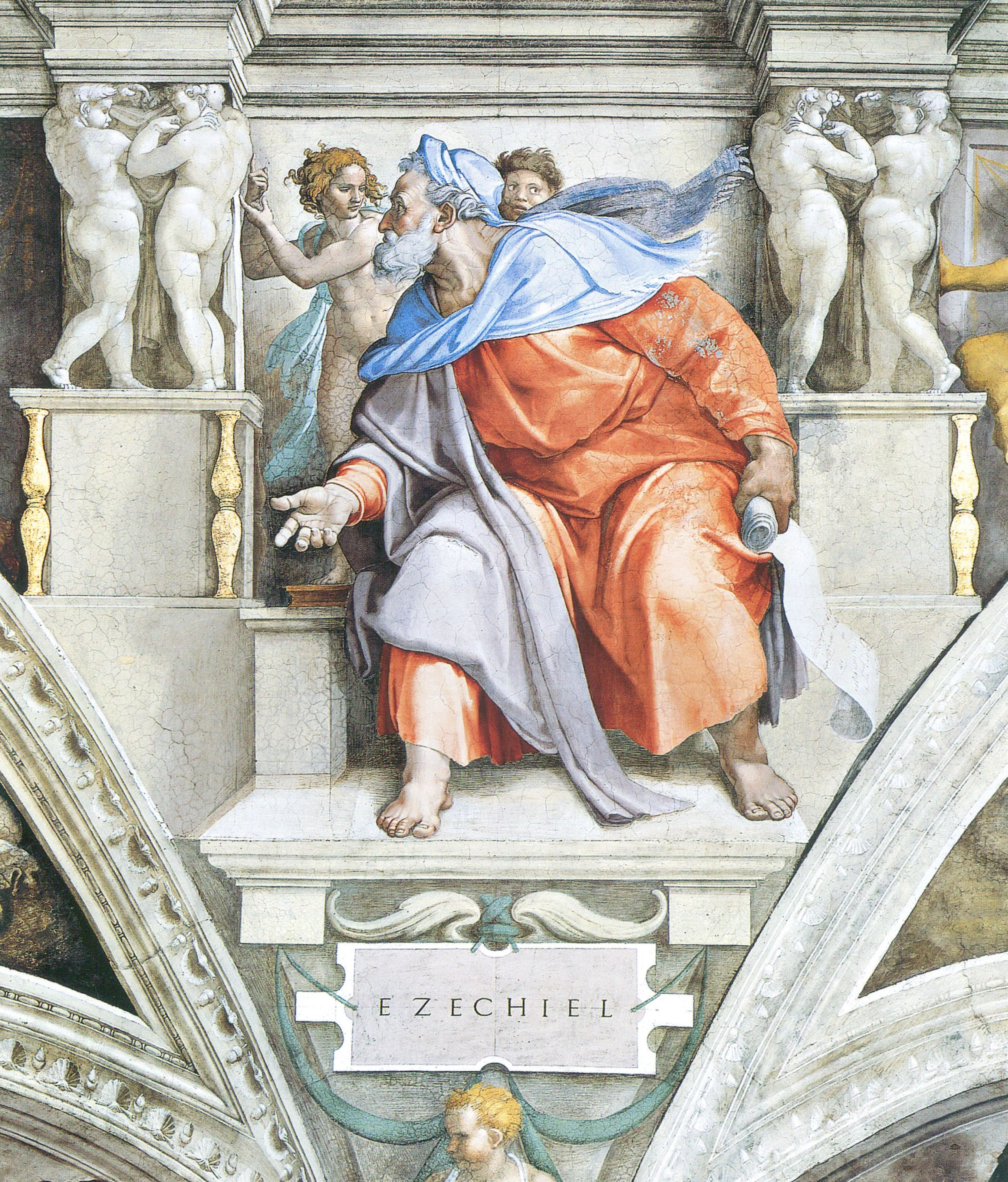 an analysis of the sistine chapel ceiling by michelangelo buonarroti Michelangelo buonarroti, ceiling of the sistine chapel bay 4, the fall and  on  the left side is masaccio's interpretation of the expulsion from the garden (pp.