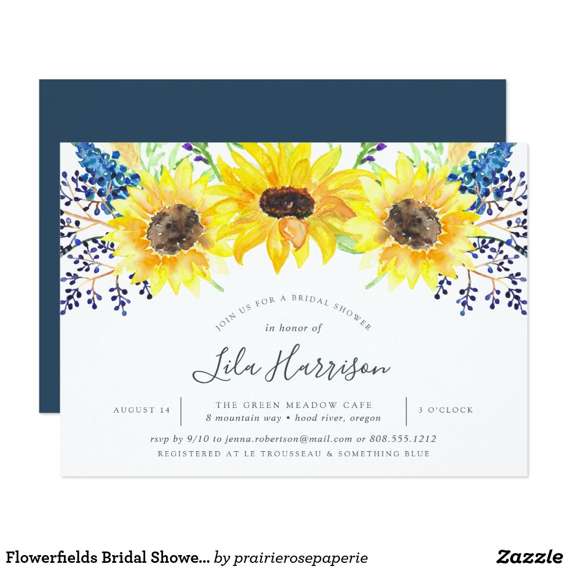 647bd2b385e6 Flowerfields Bridal Shower Invitation Country chic floral bridal shower  invitation features a top border of watercolor sunflowers