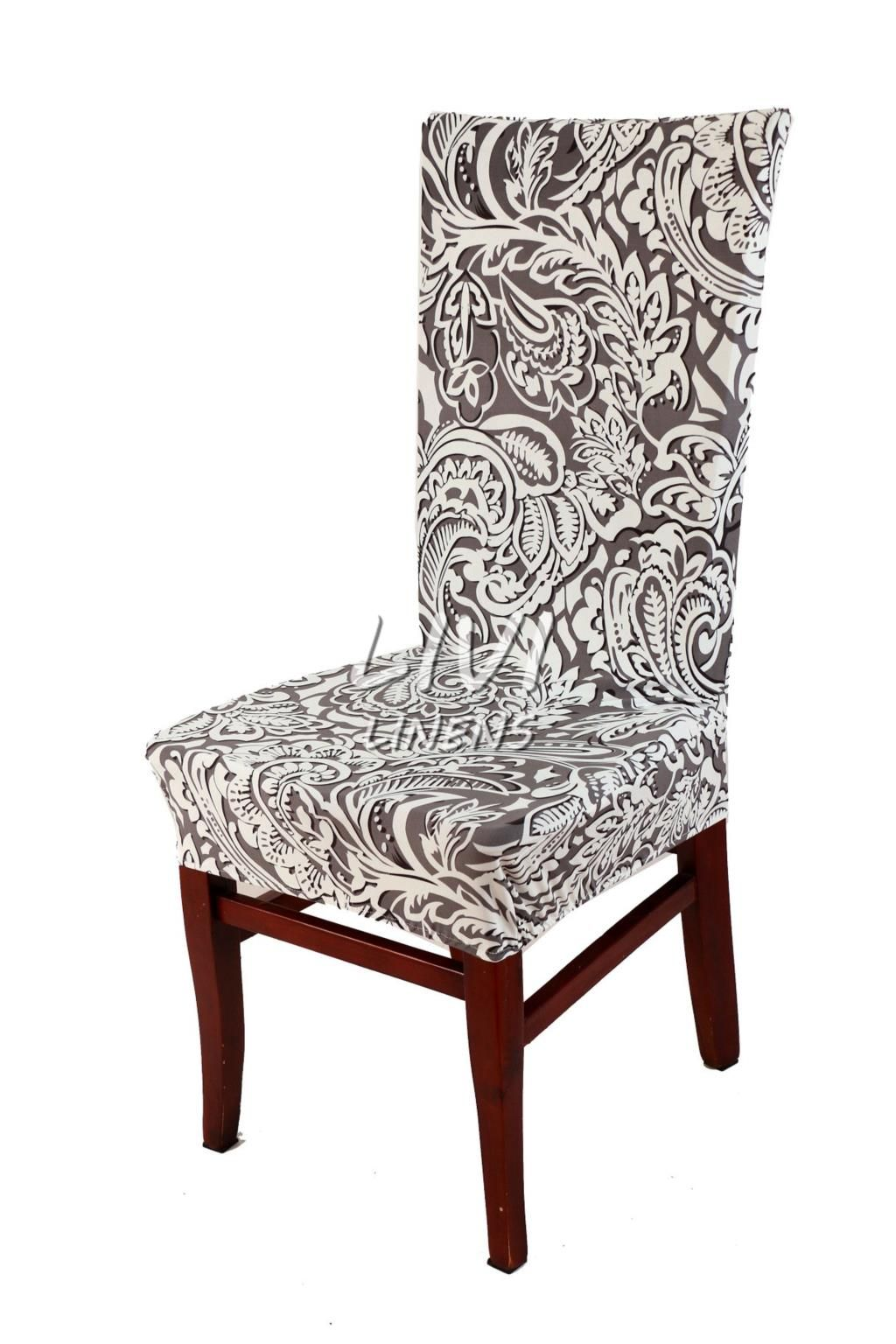 That S A Beautiful Chair Cover In Gray Paisley Fabric With Images