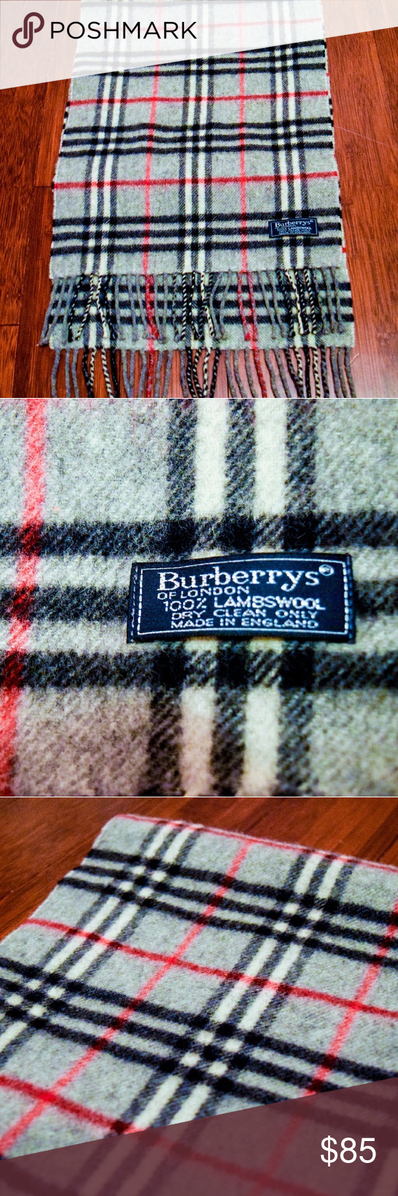 """Burberry Vintage Scarf 100% Wool Gray Check A vintage Burberry scarf in the classic gray check pattern. Made of 100% Lambswool in perfect condition. A great unisex accessory that is ultra-warm in winter months. A perfect and timeless accessory.  Note: The """"Burberry's"""" label is 100% authentic and is what Burberry used to be named. Burberry Accessories Scarves & Wraps"""