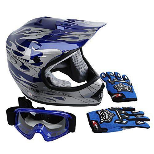 Xfmt Youth Kids Motocross Offroad Street Dirt Bike Helmet Goggles Gloves Atv Mx Helmet Blue Flame M For Produ Dirt Bike Helmets Helmet Cool Motorcycle Helmets