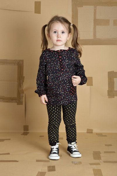 girls gold dot print leggings ditsy print long sleeved blouse