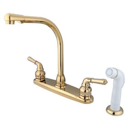Kingston Brass GKB752 Water Saving Magellan Centerset Kitchen Faucet with White Side Sprayer, Polished Brass
