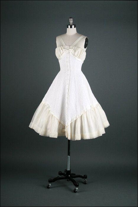 Vintage 1950s Dress  Ivory Organza  Shelf Bust. by millstreetvintage