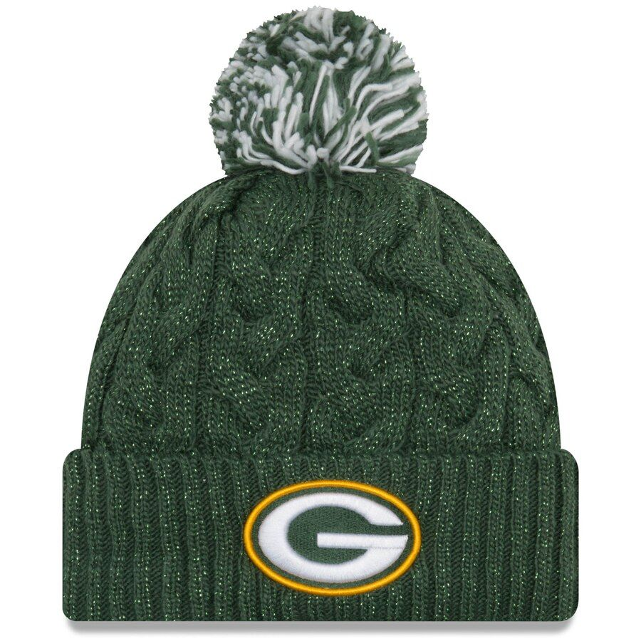 Women S Green Bay Packers New Era Green Cozy Cable Cuffed Knit Hat Green Bay Packers Logo Green Bay Packers Hat Packers Hat