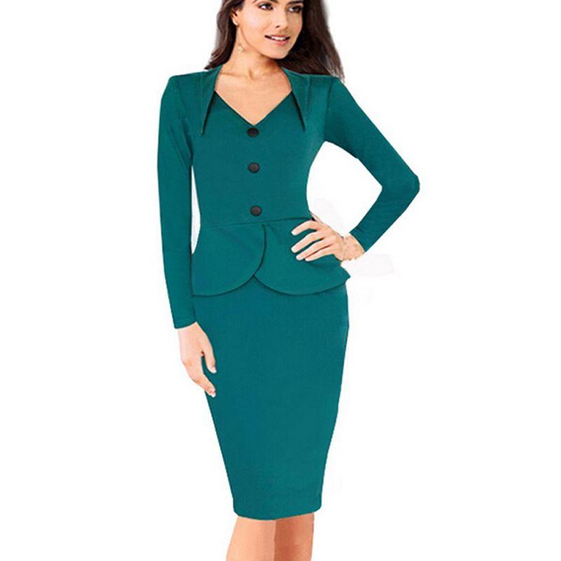b877f97c9e Cheap Womens Solid elegante trajes de negocios Blazer con faldas Formal  oficina de trabajo traje para mujer de la rodilla longitud Bodycon vestido  lápiz ...
