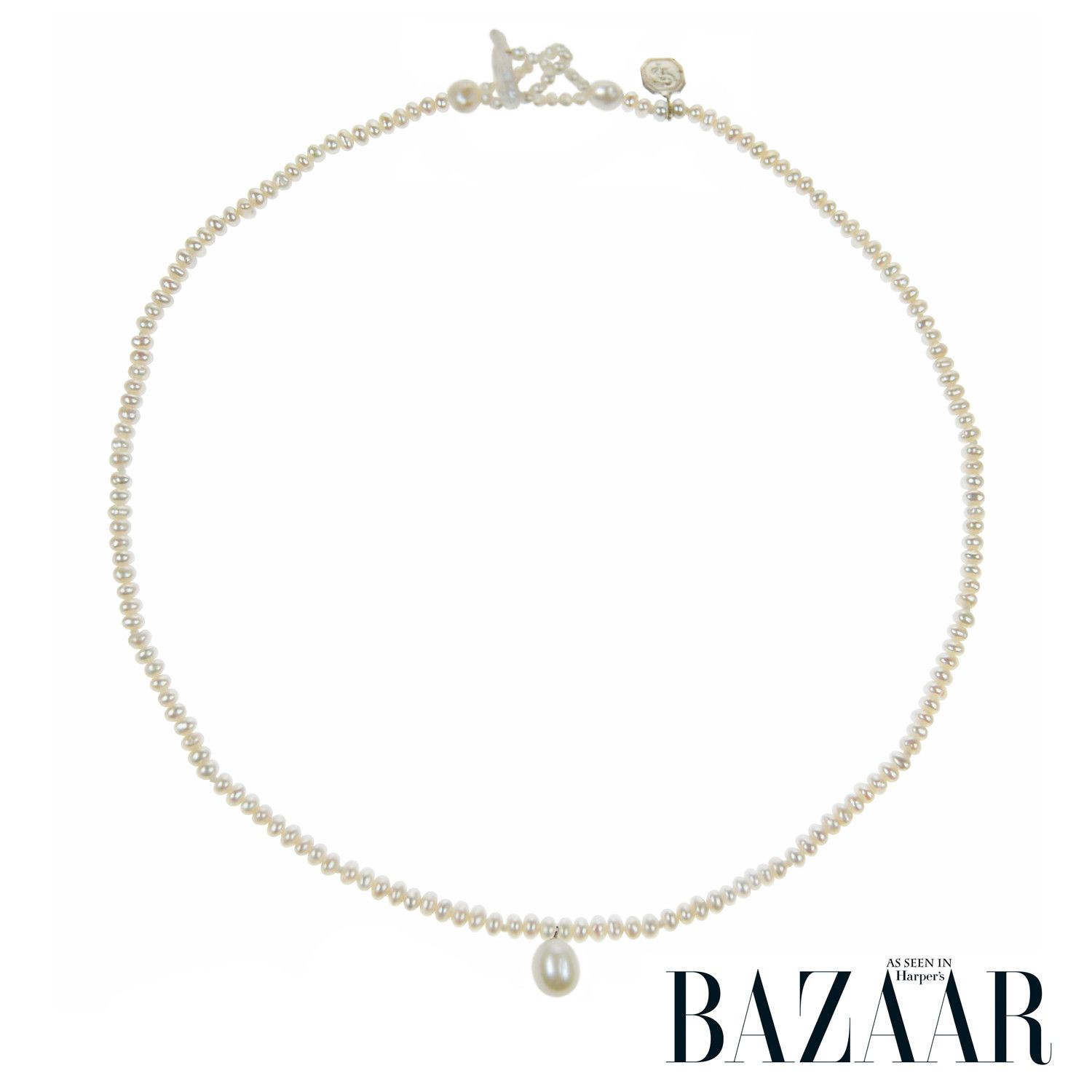 Single Strand Pearl Necklace: Single Strand Seed Pearl Necklace With Pearl Drop From