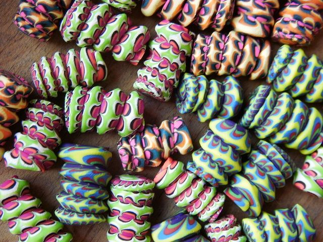 """Stacker """"Pasta"""" beads by ovenfried_beads, via Flickr - Amy Wallace"""