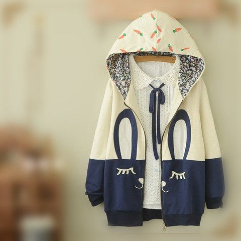 White/Beige Cutie Bunny Long Sleeve Jacket Coat SP153473