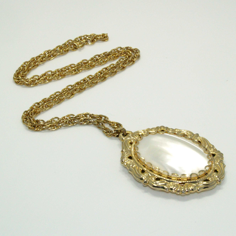 Vintage Antique Black White Mother Of Pearl Pendants Multilayer Greek Necklace 1970s