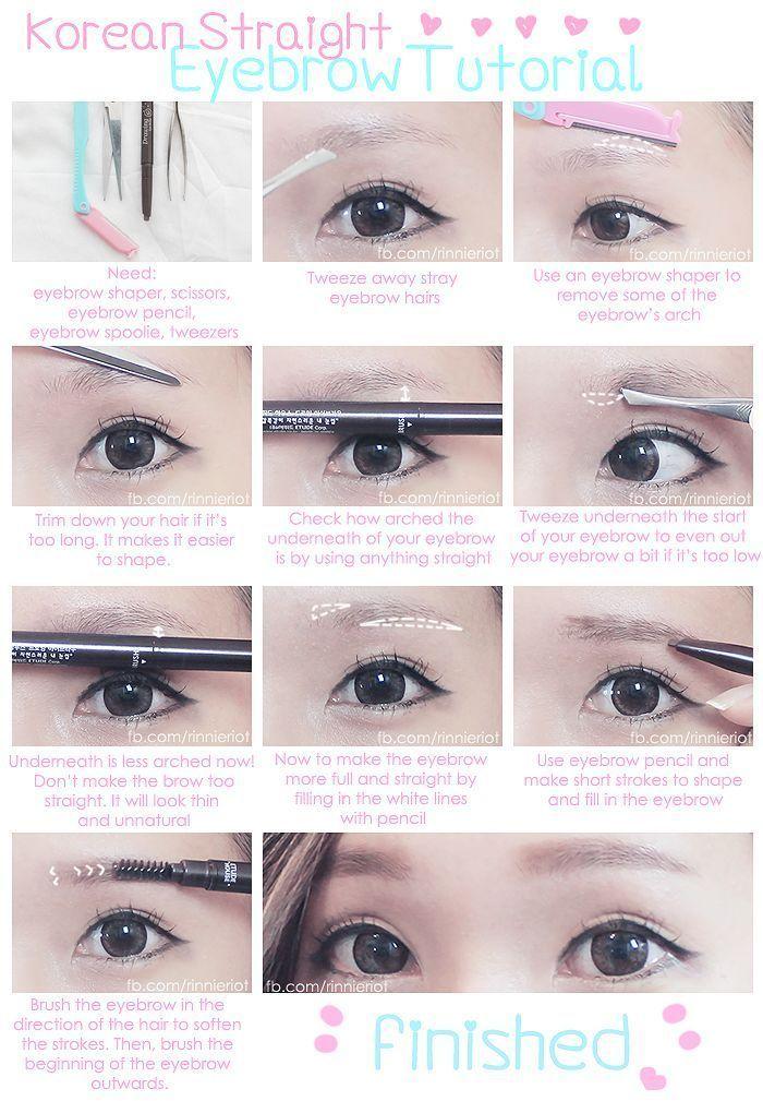 Easy To Try Korean Eyebrow Tutorial Korean Eyebrows Straight