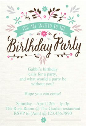 Flat Floral Birthday Invitation Template Free Greetings Island Ulang Tahun Pesta Ulang Tahun Undangan