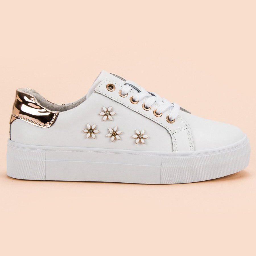 Sportowe Damskie Filippo Filippo Biale Skorzane Buty Sportowe Z Kwiatkami Converse Sneaker Shoes Converse