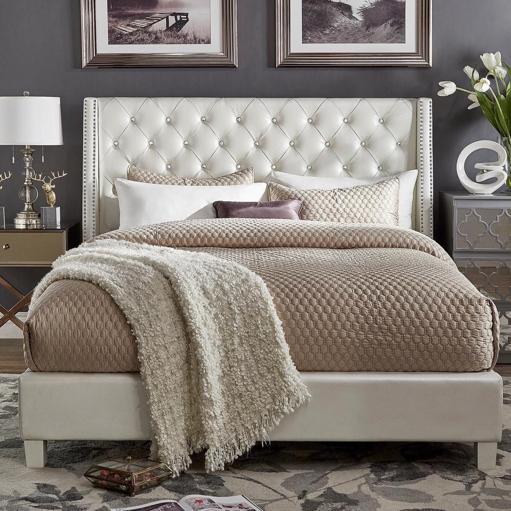 HomeSullivan Venus Ivory Metallic King Standard Bed-40E300BK-1IWPUB - The Home Depot