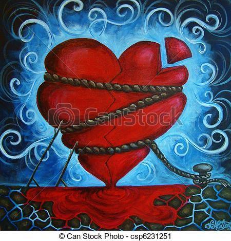Acrylic Heart Paintings Heart Stock Illustration Royalty Free