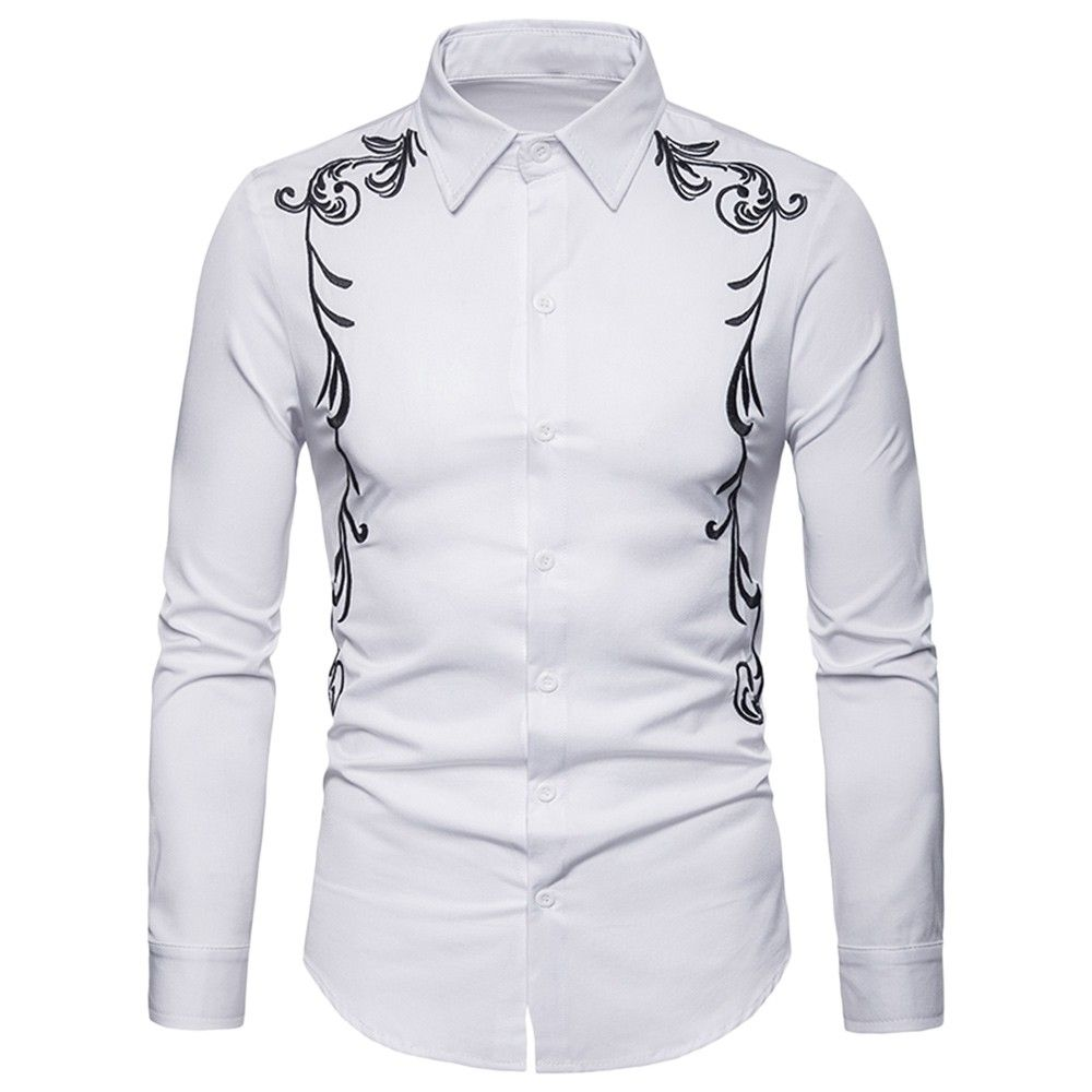 Turn Down Collar Long Sleeve Embroidery Button Slim Men Shirt White 3r80182910 Size M Mens Shirt Dress Men Dress Winter Shirts [ 1000 x 1000 Pixel ]