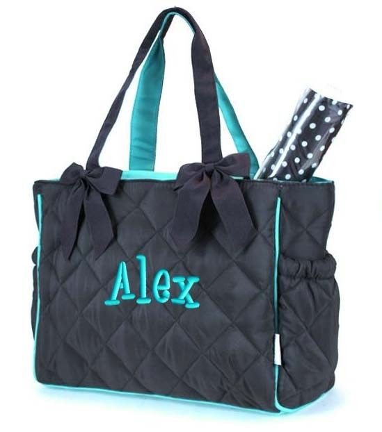 Personalized Diaper Bag Brown Teal Blue Quilted 2pc By Parsik93