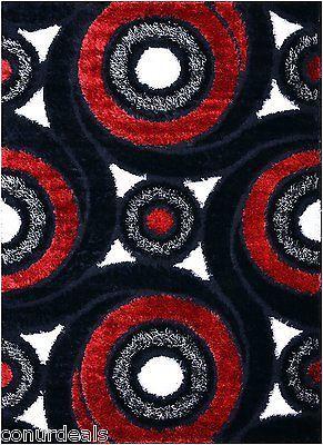 Black White Red Grey Swirl Shags Shag Area Rugs Shaggy Rug 3x5 3x7