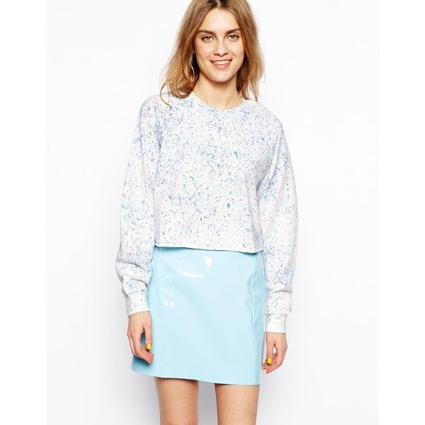ASOS Sweatshirt with Splash Print (17 CAD) ❤ liked on Polyvore featuring tops, hoodies, sweatshirts, multi, print sweatshirt, print crop top, patterned sweatshirts, asos sweatshirt and asos