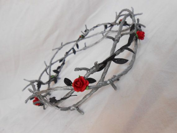 Barbed Wire Crown Of Thorns Silver Black Leaves Red By