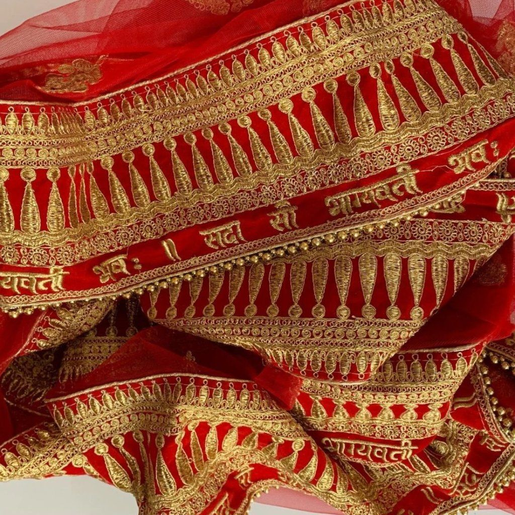 Bridal Red dupatta for Indian dress net beaded border dupatta