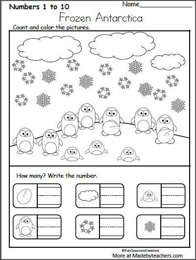 Free Kindergarten Winter Math Worksheet Count And Write Numbers Madebyteachers Winter Math Worksheets Winter Math Winter Math Kindergarten