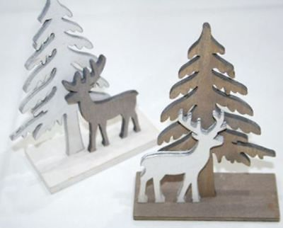 2er set weihnachtsdeko winterdeko holzbaum mit elch. Black Bedroom Furniture Sets. Home Design Ideas