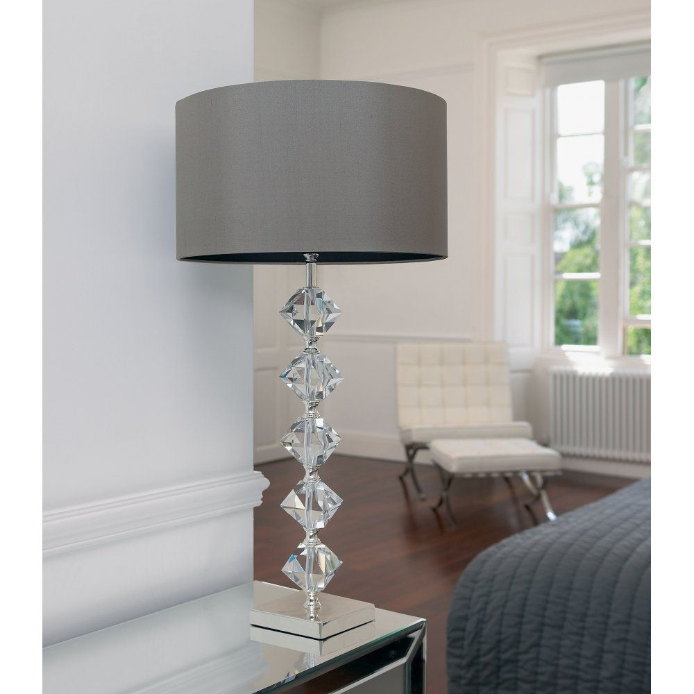 Modern glass table lamp - Verdone Crystal Lamp In Silver Plate With A Mink Coloured Silk Shade Contemporary Table Lampsmodern Table Lampsglass