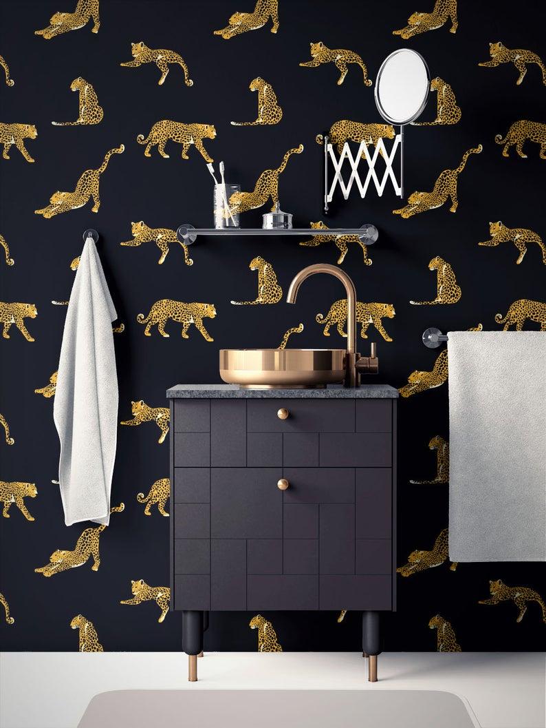 Tropical Removable Wallpaper Leopard Wallpaper Modern Etsy Removable Wallpaper Leopard Wallpaper Peel And Stick Wallpaper