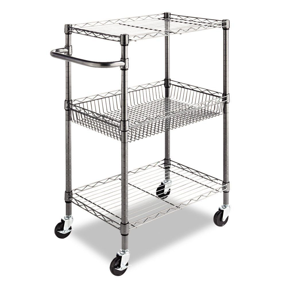 Commercial Kitchen Cart Wheels Wire Shelves Utility Rolling Storage Restaurant #Alera  sc 1 st  Pinterest & Kitchen Cart Wheels Commercial Restaurant Rolling Wire Rack Utility ...