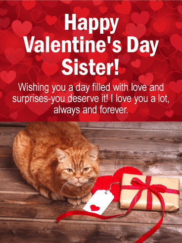 Cute Cat Happy Valentine S Day Card For Sister Birthday Greeting Cards By Davia Happy Valentines Day Sister Happy Birthday Quotes Funny Happy Valentine Day Quotes