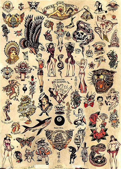 """Sailor Jerry Tattoo Flash - Poster Print 24""""x36"""" - Free Shipping in U.S"""