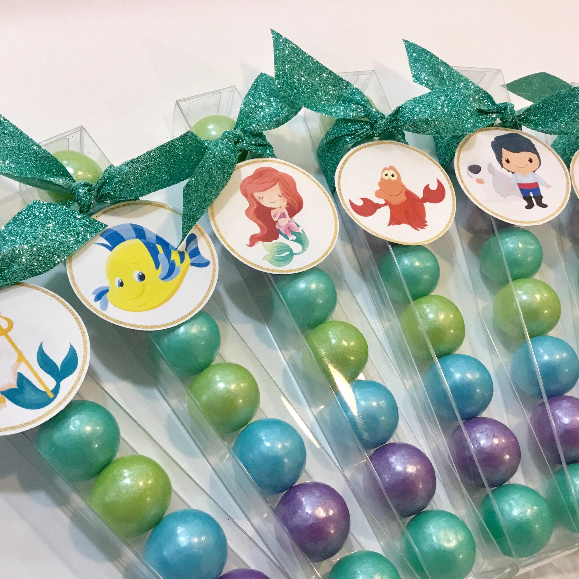 little girl birthday party favor tag mermaid  under the sea  the little mermaid  ariel pink, coral and aqua