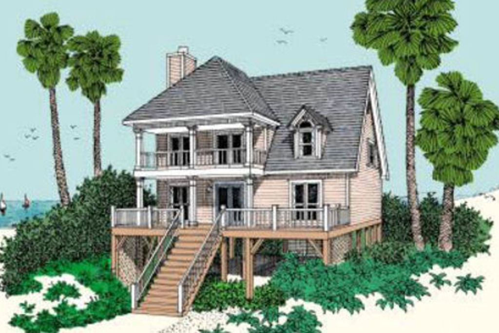 Plan 37 115 front elevation beachfront for Beach house elevation designs
