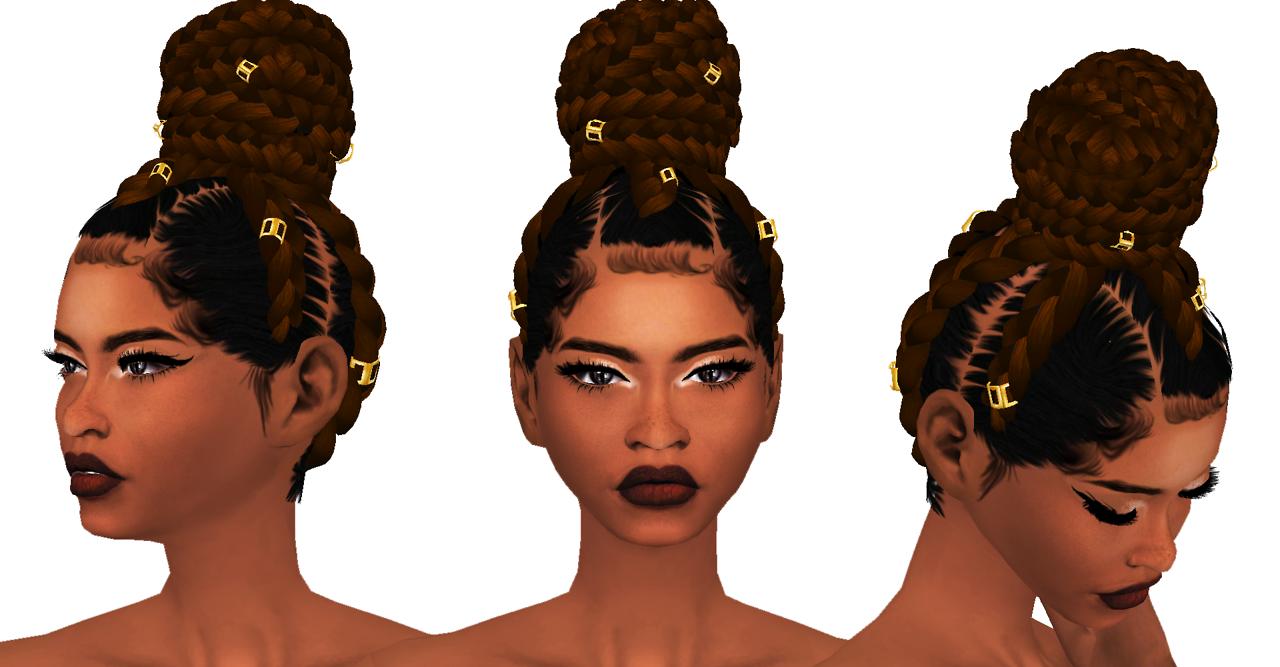 Lana Cc Finds Ebonix Goddess Bun Ts4 Hair Female